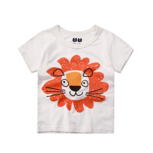 Ularma Baby Kinder Cartoon Baumwolle T-Shirt Sommer Kurzarm Tops (100, Löwe) (Frühjahr Crew Shirt)