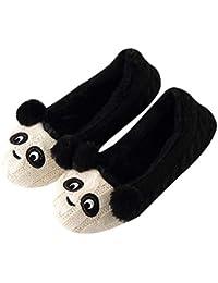 fc53d29aeee5e DYTTO Pantoufles Femme en Coton Panda Mignon Armure De Laine Mousse De  Mémoire Maison Chaude Chaussures