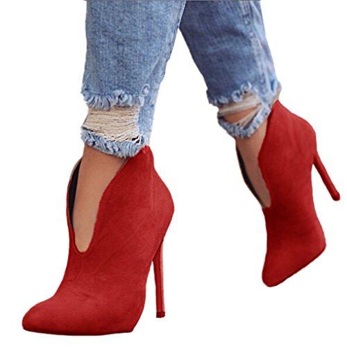Minetom Damen Stiefeletten Mode Frühling Herbst Stiletto Shoes Booties Stiefel Casual Schuhe Sexy Party Pumps High Heels Rot EU ()