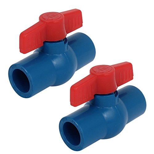 2-teilig 20mm Vollständiger Port Rutschfester Griff Hebel U-PVC Kugelhahn Blau Rot DE de -