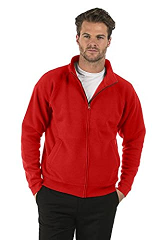 Bruntwood Classic Full Zip Sweat Jacket - Mens & Ladies - 280GSM - Cotton/Polyester (Red, L)