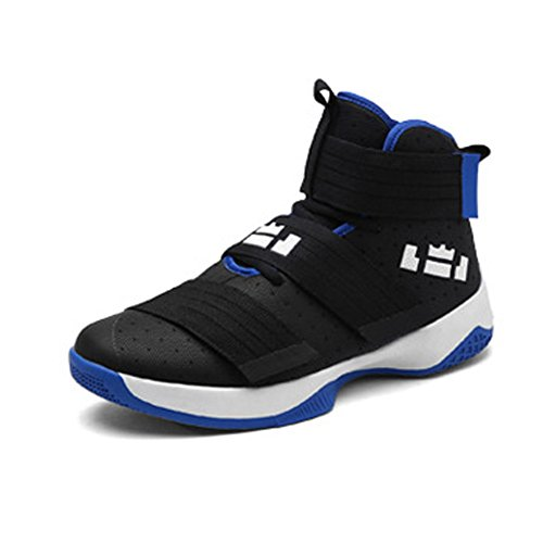 Largeshop Herren Jungen Basketballschuhe Hohe Sneakers Atmungsaktiv Ausbildung Outdoor Freizeit Sport Turnschuhe, Schwarz-1, 43 EU