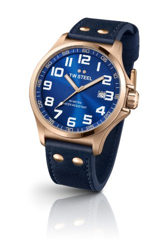 TW Steel Pilot Unisex Quartz Watch with Blue Dial Analogue Display and Blue Leather Strap TW404