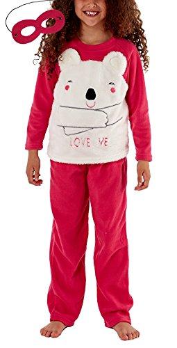 i-Smalls Mädchen Bär Liebe mich Fleece-Pyjama Set mit Rosa / Weiß Augenmaske (Hot Rosa/Weiß) 13 (Set Pyjama Fleece)