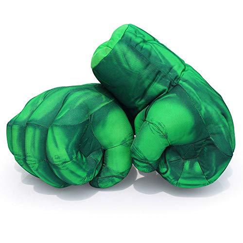 Zihuist 1 Paar Hulk Handschuhe Superheld Plüsch Hulk Faust Boxhandschuhe Soft Plüsch Handschuhe Spielzeug Cosplay Kostüm Geburtstag Geschenk zum Spass Spielzeuge Kinder - Grün (Man Web Kostüm Shooter Spider)