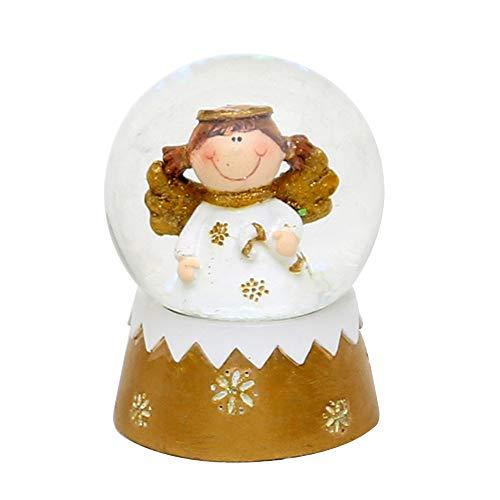 Dekohelden24 Mini-Schneekugel mit Engel, Maße L/B / H: 5 x 5 x 6,5 cm Kugel Ø 4,5 cm.