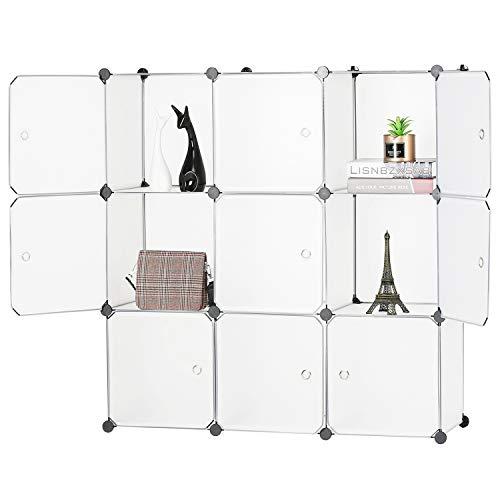 BASTUO 9-Cubes DIY Aufbewahrung Schrank Bücherregal Regal Körbe Modular Cubes, Closet für Toys. Bücher, Kleidung, Weiß mit Türen