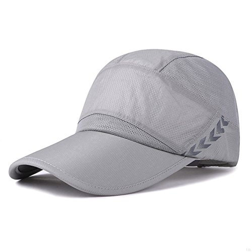 GADIEMENSS Quick Drying Breathable Running Outdoor Hat Cap Only 2 Ounces (Gray) (Light Visor Blue)