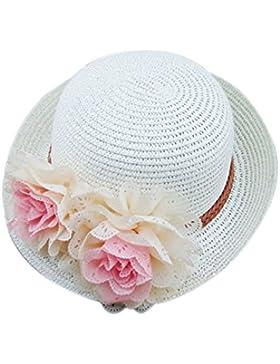 Sombrero de paja para bebés Sombrero de niña plegable de verano Flores Gorro de playa Sombrero de sol para niños
