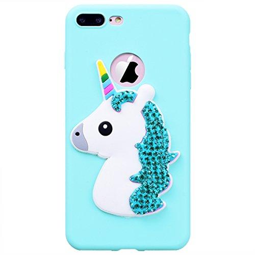 WE LOVE CASE iPhone X Hülle Einhorn Weiß Glitzern Diamant Süßigkeitsstil iPhone X / 10 Hülle Silikon Weich Unicorn Himmel Blau Handyhülle Tasche für Mädchen Elegant Backcover , Soft TPU Flexibel Case  blue