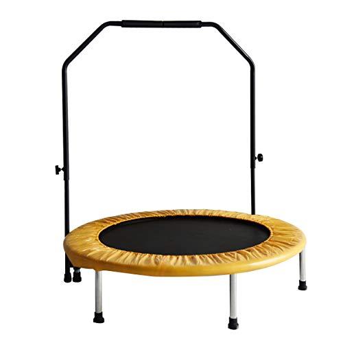 DlandHome 38' Mini trampolín Fitness para Niños con Manillar Ajustable, Interior Cama elástica, Peso máximo 80 kg, Negro & Naranja