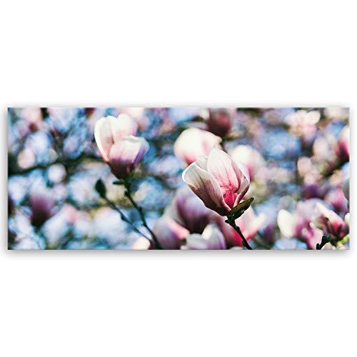 ge Bildet® hochwertiges Panorama Leinwandbild - Magnolie - 100 x 40 cm einteilig 3004II