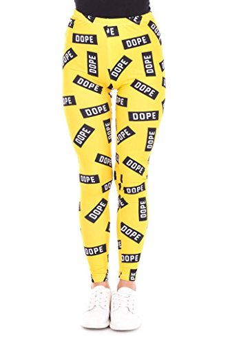 Kukubird Printed Patterns Women's Yoga Leggings Gym Fitness Running Pilates Tights Skinny Pants Size 6-10 Stretchable - Dope Yellow (Leggings Dope)
