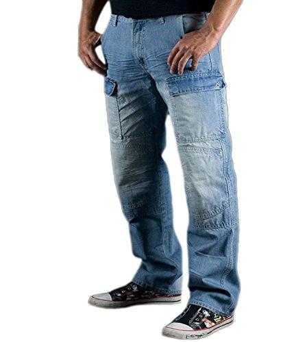 Juicy Trendz Herren Motorradrüstung Biker Motorrad Denim Hose Jeans Trouser Horn Cargo S015, Blau, 36W / 32L