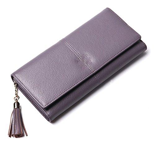 Mme Longue Section De Multi-fonction D'embrayage En Cuir purple