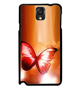 Fuson Premium 2D Back Case Cover Colourful butterfly With Black Background Degined For Samsung Galaxy Note 3 Neo N7505