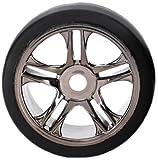Traxxas 6477S1Compound Slick Reifen serienmäßig auf Schwarz split-spoke Rollen (hinten)