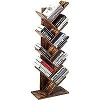 Bibliothèque en bois avec 8 niveaux - Marron - Étagère de rangement sur pied pour livres, magazines, CD, films - Marron
