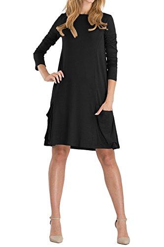 OMZIN Frauen Plus Größe S-4XL Langarm-Lose Schaukel Casual T-Shirt Taschen Kleid