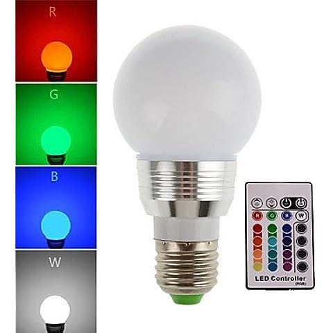 Bombilla, 3W 180LM E27 RGB LED del bulbo de lámpara de la luz del punto del LED con control remoto (85-265V)
