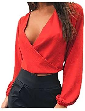 Lettre d'amour Las Mujeres con Cuello EN V Profundo Sobrepelliz Backless Camisas Blusas Crop Tops Corbata