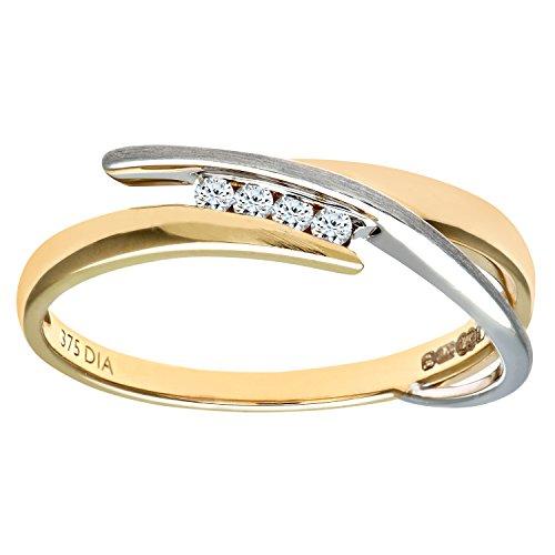 Naava Anillo Mujer Oro Bicolor 9K Diamante Talla 13