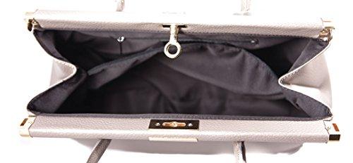 CTM Borsa Bauletto da Donna Elegante con Manici e Tracolla, 35x28x16cm, Vera pelle Made in Italy Fango