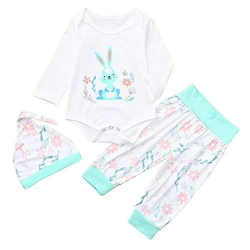 Infant Baby Ostern Tag Kaninchen Print Jumpsuit Strampler + Hosen + Hut Outfits Set (Weiß,100) ()