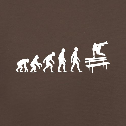 Herren T-Shirt - Evolution of Man - Parkour Freerunning - 10 Farben Schokobraun