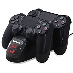 Dockingstation dock Ladestation Ladegerät für PS4 Controller DualShock 4 – ElecGear Dual Charger Docking Station mit LED…