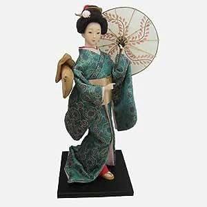 JAPONAISE-Modèle Geisha en Kimono Turquoise pour Femme.