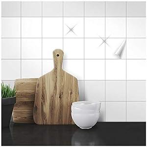 Wandkings Fliesenaufkleber - Wähle eine Farbe & Größe - Weiß Glänzend - 10 x 10 cm - 100 Stück für Fliesen in Küche, Bad & mehr