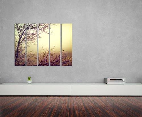 Abenddämmerung 5x30x120cm XXL extra großes 5-teiliges Wandbild auf Leinwand und Keilrahmen fertig zum aufhängen – Unsere Bilder auf Leinwand bestechen durch ihre ungewöhnlichen Formate und den extrem detaillierten Druck aus bis zu 100 Megapixel hoch aufgelösten Fotos.