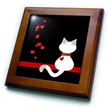 3dRose FT 164793_ 1Tierliebhaber rot Herzen Siam Kitty cat-Framed Tile Kunstwerke, 8von 20,3cm