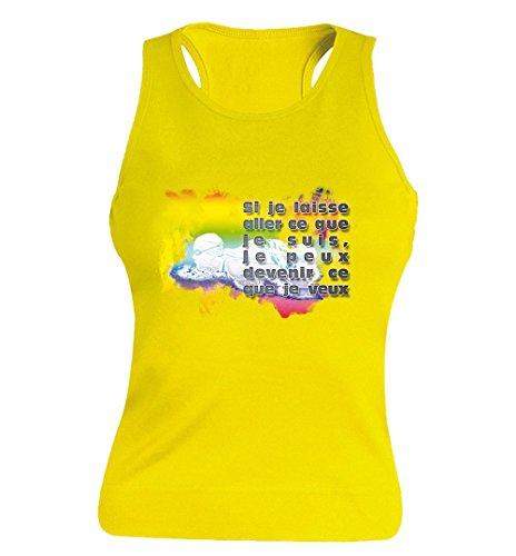"""T-shirt Femme 100% Coton - """"Natation"""" - Sans Manches Jaune"""