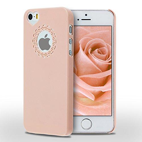 iPhone SE Hülle, iPhone 5S Hülle, SpiritSun Transparent Schutzhülle für Apple iPhone SE / 5 / 5S PC Hart Handyhülle Extrem Dünne Bumper Cover mit Stylus Pen - Rot Rosa