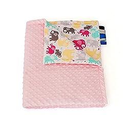 75cm x 100cm, Rose + Elephants: 1buy3 MINKY lined baby blanket |plush blanket |play rug |cuddle blanket 75 x 100 cm (Rose + Elephants)