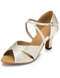 Women's Latin Seide Sandale Leistung Kristalle/Strass Stiletto Heel Schwarz 3  - 3 3/4  Anpassbare