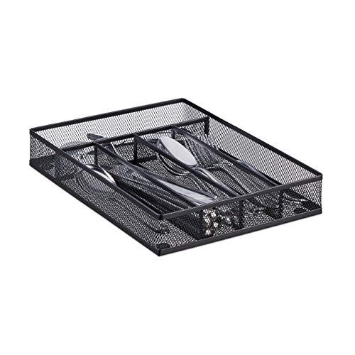 Relaxdays Range-couverts mailles acier métal boîte à couverts bac à couverts HxlxP: 5 x 23,5 x...
