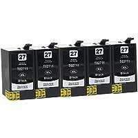 5 Cartuchos de tinta compatible con Epson 27-XL, T2701, T2711 (Negro)