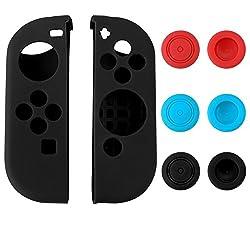 eXtremeRate® Custodia Protettiva in Silicone Custodie Protettive per Gel per Nintendo Switch Joy-Con Protector Protector Kit Protezione Black