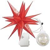 ETiME Weihnachtsstern außen Adventsstern Stern 3D Kunststoff Außenstern Lampe Fensterstern Deko Rot inkl. Leuchtmittel wasserdicht (Rot mit Leuchtmittel Wasserdicht)