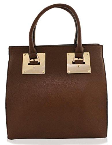 Kukubird Large Faux Leather Designer Handbag With Gold Metal Plate BROWN