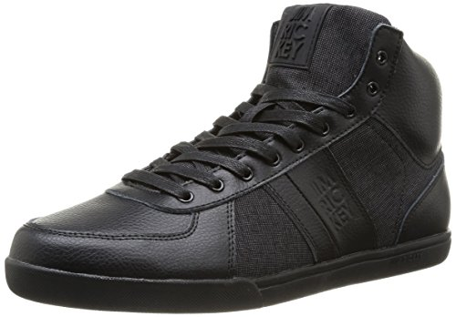 Jim Rickey Zenith Tumbled Leather Fine Tweed, Baskets mode homme Noir (Black)