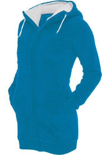 Urban Classics - Sweat à capuche - Femme Turquoise/blanc
