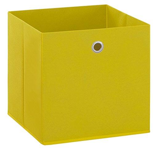 PEGANE Boîte Pliable en intissé Coloris Jaune, L 32 X H 32 X P 32 cm