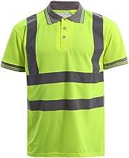 MyShoeStore Hi Viz Vis Hoge Zichtbaarheid Polo Shirt Reflecterende Tape Veiligheid Werk Knop T-Shirt Ademend L