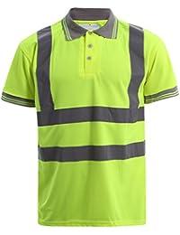 2a85c703 Hi Viz Vis High Visibility Polo Shirt Reflective Tape Safety Security Work  Button T-Shirt