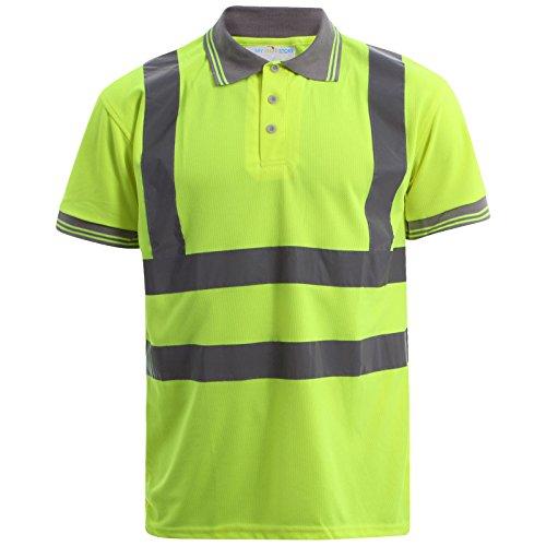 MyShoeStore Hochsichtbar Sichtbar Hohe Sichtbarkeit Poloshirt Reflektierendes Band Sicherheit Sicherheitsarbeit Taste T - Shirt Atmungsaktive Top Leichtgewicht Doppel Band Arbietskleidung Plus Große Gelb - Yellow / Short Sleeve