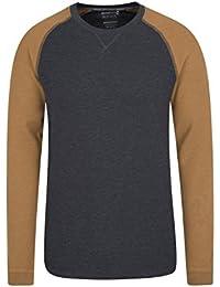 Mountain Warehouse Camiseta de Manga Larga para Hombre Waffle - Camiseta con Cuello Redondo, protección Solar UPF30, Ligera, Transpirable, Secado rápido